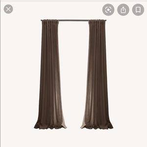 Restoration Hardware linen drapes.